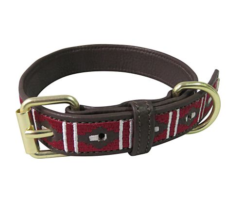 Halo Kelly Leather Dog Collar - Brown/White/EC Red
