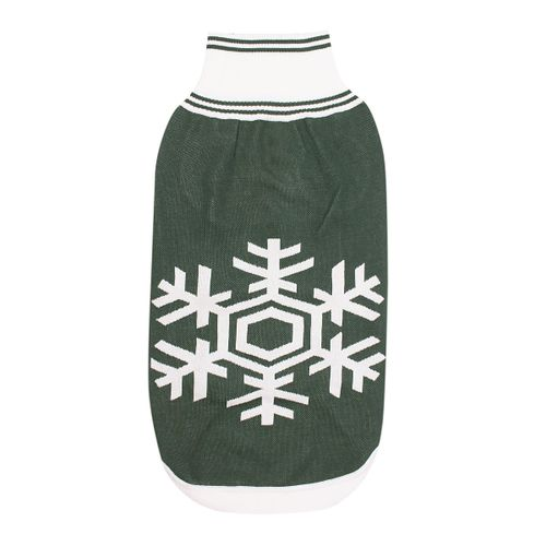 Halo Snowflake Dog Sweater - Hunter Green