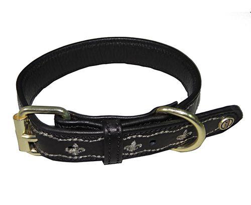 Halo Fleur de Lis Leather Dog Collar - Black/Safari