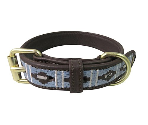 Halo Kelly Leather Dog Collar - Brown/White/Cashmere Blue
