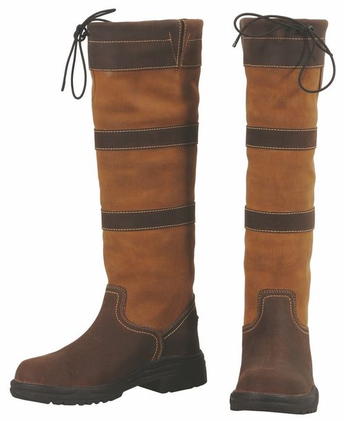 TuffRider Kids' Lexington Waterproof Tall Country Boots - Chocolate/Fawn