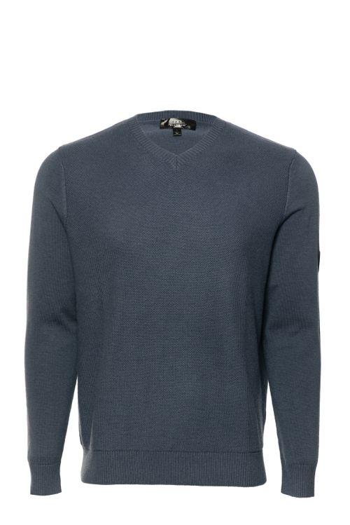 Alessandro Albanese Men's Milano Classic V Neck Sweater - Aviation Blue