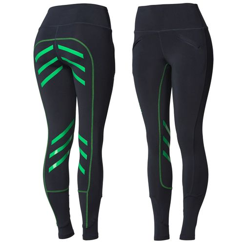 Horze Women's Equitation Colored Silicone Full Seat Riding Tights - Dark Blue/Green