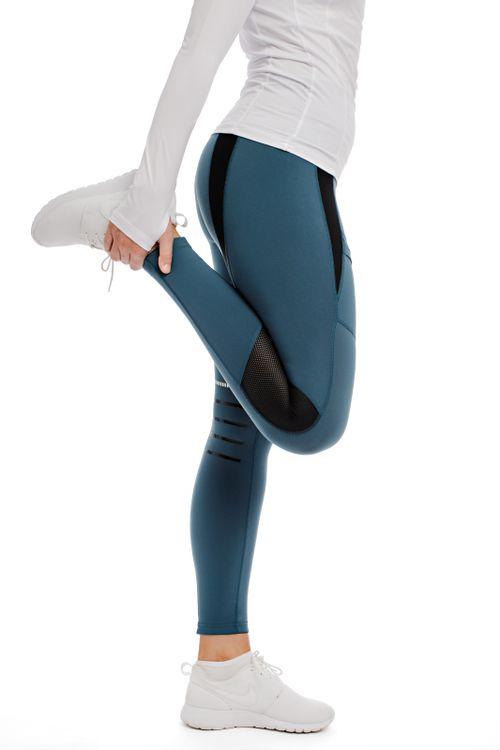 Horseware Women's Tech Knee Patch Riding Tights - Petrol Blue