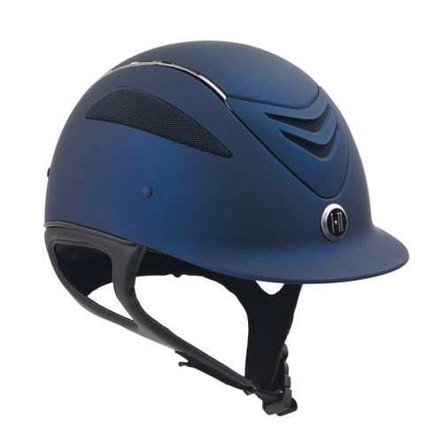 One K Defender Chrome Stripe Helmet - Navy Matte Chrome Stripe