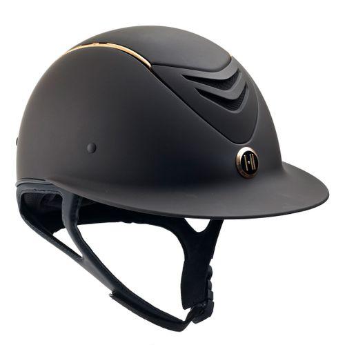 One K Avance Wide Brim Rose Gold Stripe Helmet - Brown Matte Rose Gold Stripe