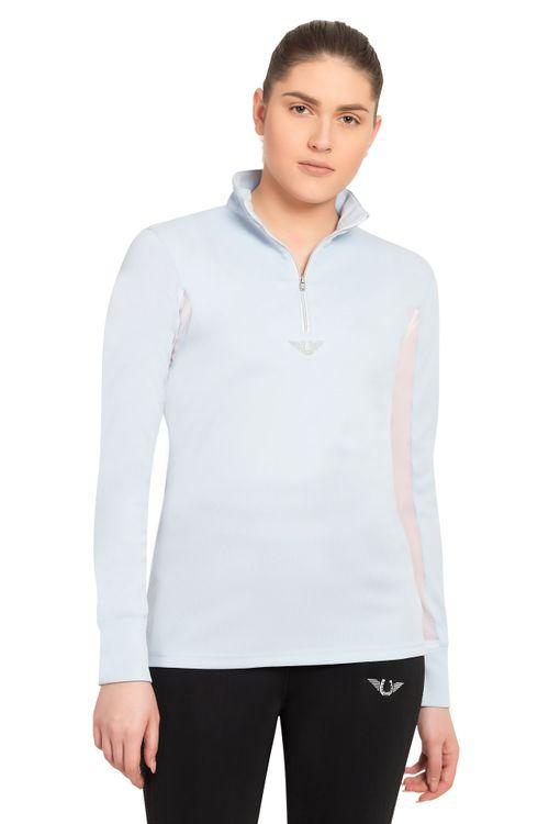 TuffRider Women's Ventilated Technical Long Sleeve Sport Shirt - Glacier Blue