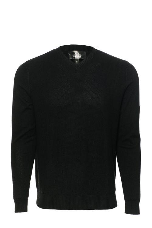 Alessandro Albanese Men's Milano Classic V Neck Sweater - Black