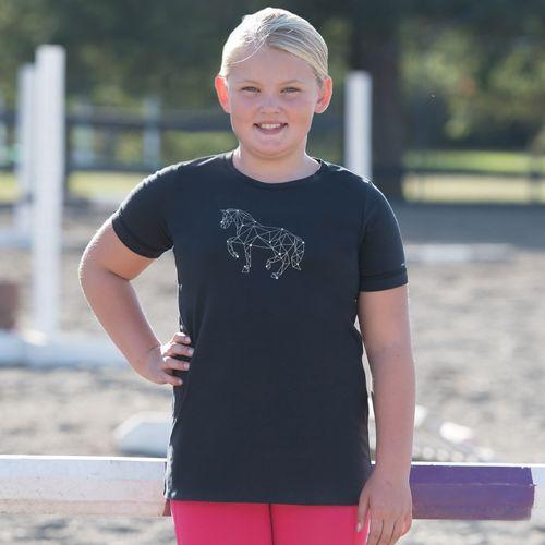 Irideon Kids' Celestial Horse Tee Shirt - Black