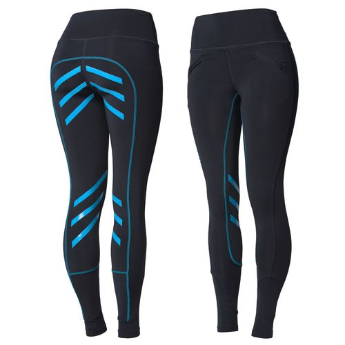 Horze Women's Equitation Colored Silicone Full Seat Riding Tights - Dark Blue/Blue