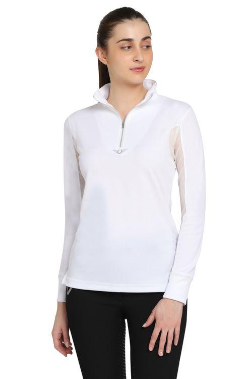 TuffRider Women's Ventilated Technical Long Sleeve Sport Shirt - White