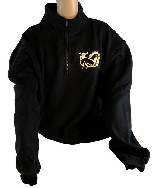 """Animals to Wear """"Go Baby"""" 1/4 Zip Sweatshirt - Black"""