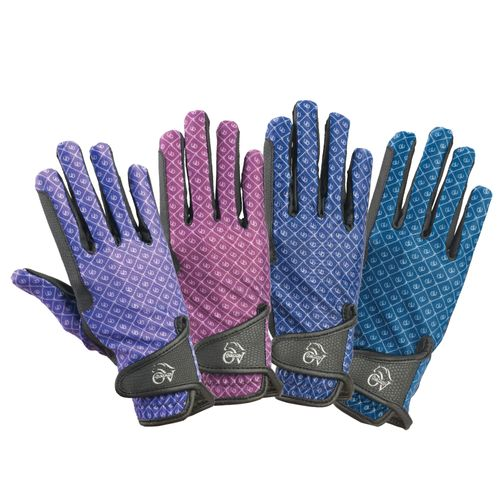 Ovation Cool Rider Gloves - Teal Horseshoes