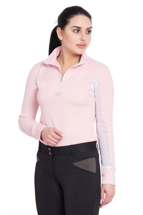 TuffRider Women's Ventilated Technical Long Sleeve Sport Shirt - Petal Pink