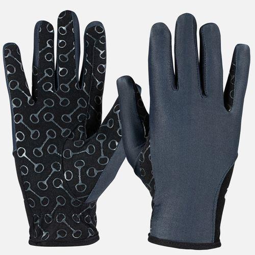 Horze Kids' Riding Gloves with Silicone Palm Print - Dark Navy