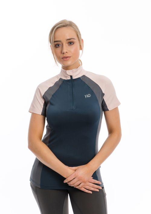Horseware Women's Aveen Tech Short Sleeve Top - Navy/Rosewater