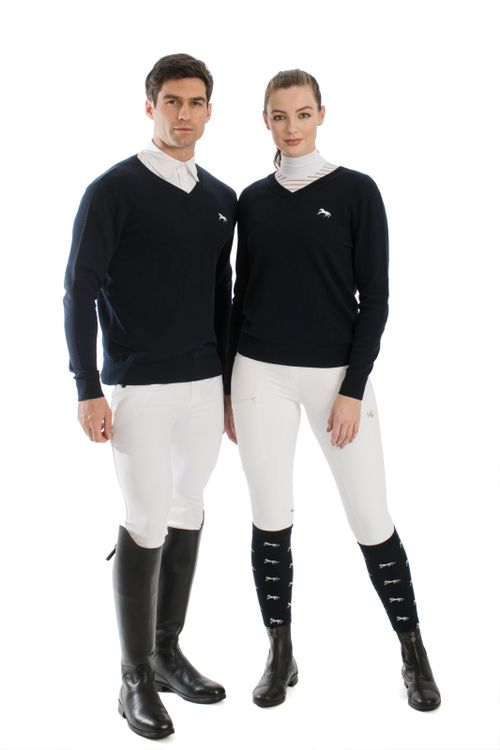 Horseware Signature Cotton Knit V-Neck - Navy