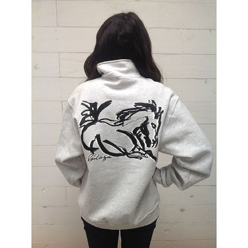"Animals to Wear ""Wild Horse"" 1/4 Zip Sweatshirt - Light Grey"