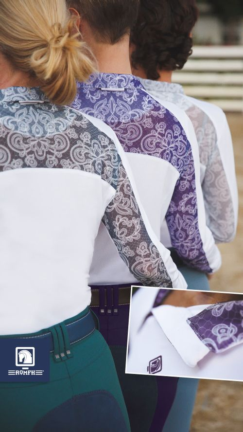Romfh Women's Lace Long Sleeve Zip Dressage Show Shirt - White/Charcoal