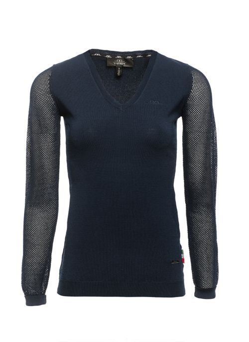 Alessandro Albanese Women's Sweater w/Perforated Sleeves - Navy