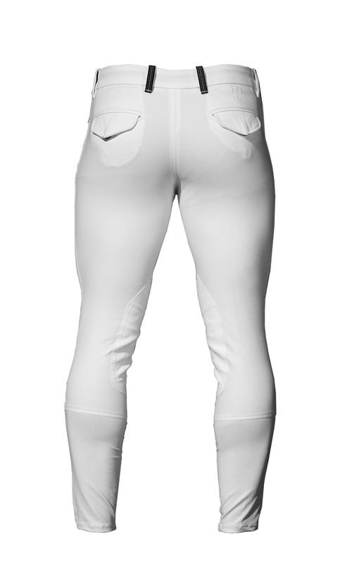 Alessandro Albanese Men's Taranto Knee Patch Breeches - White (((1200))) <<<en-US>>>