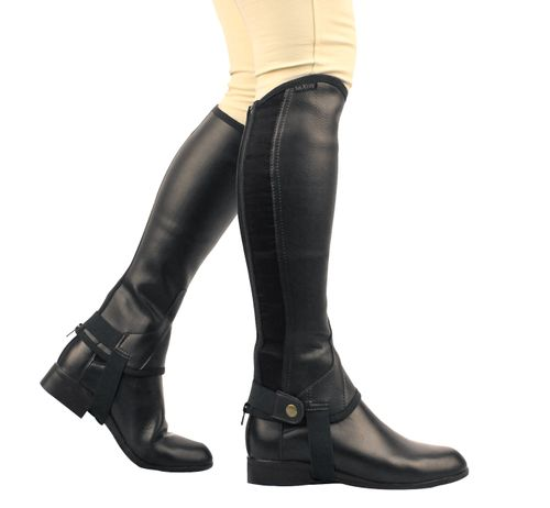 Saxon Kids' Equileather Half Chaps - Black
