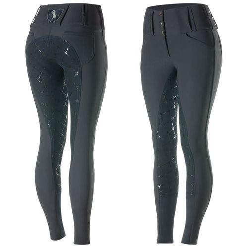 Horze Women's Desiree Full Seat Breeches - Peacoat Dark Blue/Silver