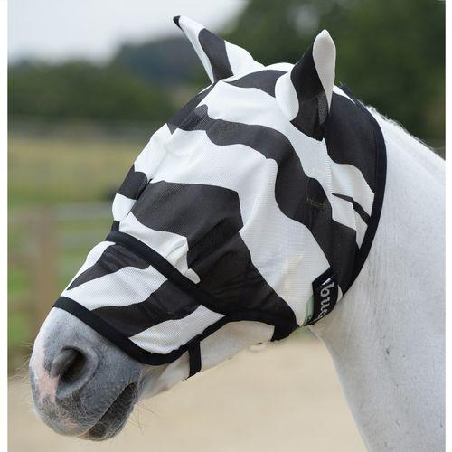 Bucas Buzz-Off Extended Nose Fly Mask w/Ears - Zebra