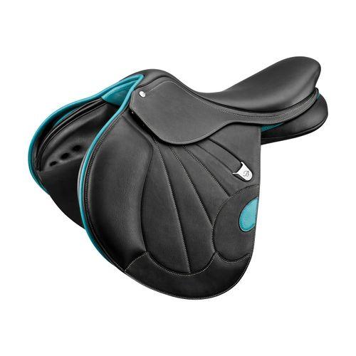 Bates Victrix Jump Saddle - Classic Black/Aqua