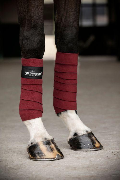 Horseware Four Pack Fashion Fleece Bandages - Pomegranate/Black