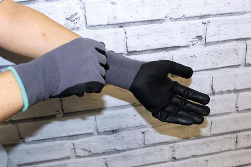 Horseware Coated Smooth Grip Work Gloves 2 Pack - Grey/Black