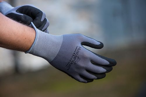 Horseware Coated Supreme Grip Work Gloves 2 Pack - Grey/Black