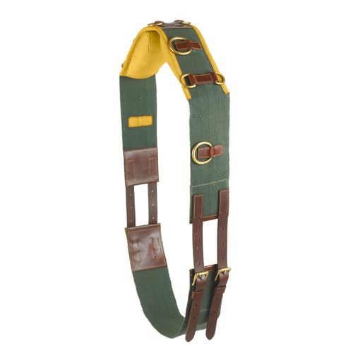 Camelot Premium 10-Ring Surcingle - Green/Brown