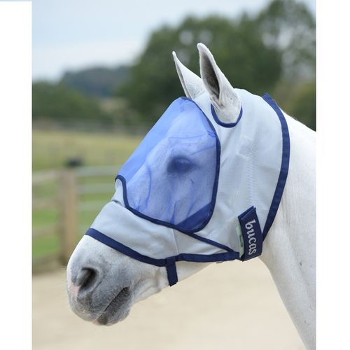Bucas Buzz-Off Deluxe Fly Mask - Silver/Navy