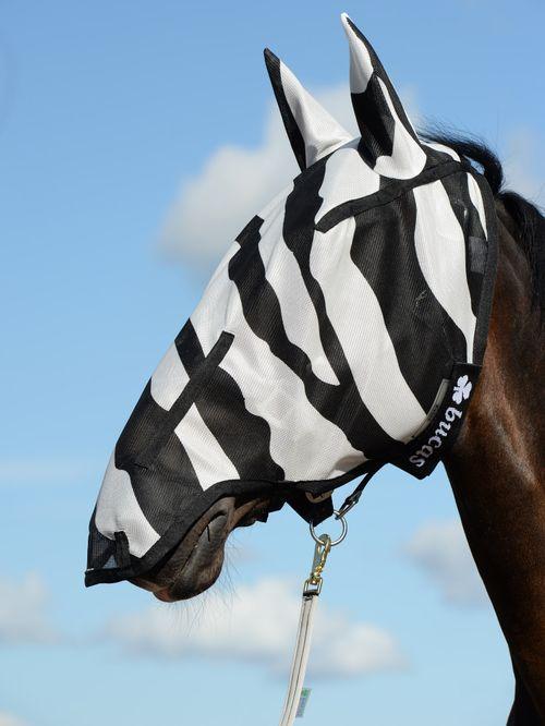 Bucas Buzz Off Long Nose Fly Mask w/Ears - Zebra