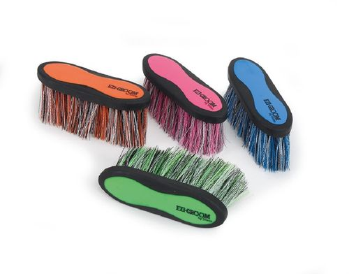 Ezi-Groom Grip Long Bristle Dandy Brush - Bright Blue