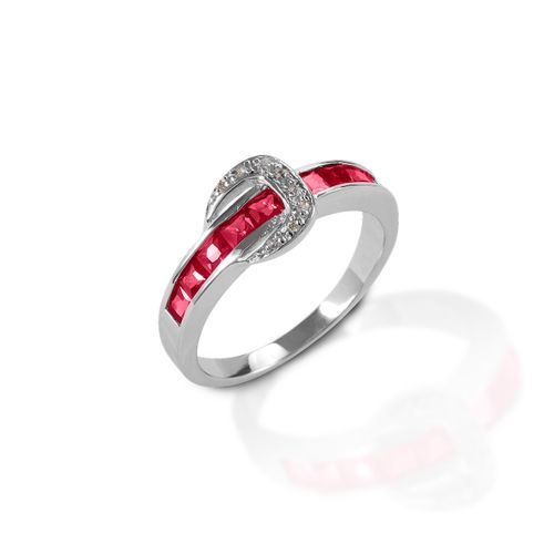 Kelly Herd Contemporary Buckle Ring - Sterling Silver/Red