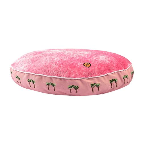 Halo Round Dog Bed - Pink/Palm Trees