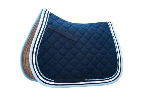 Roma Crescent All Purpose Saddle Pad - Navy/White/Light Blue