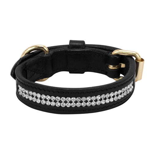 Halo Bling Two Row Dog Collar - White Crystals