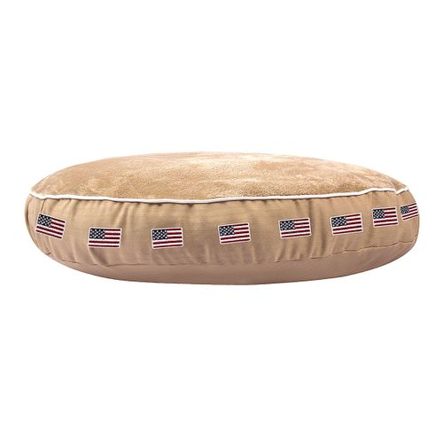 Halo Round Dog Bed - Safari/American Flag