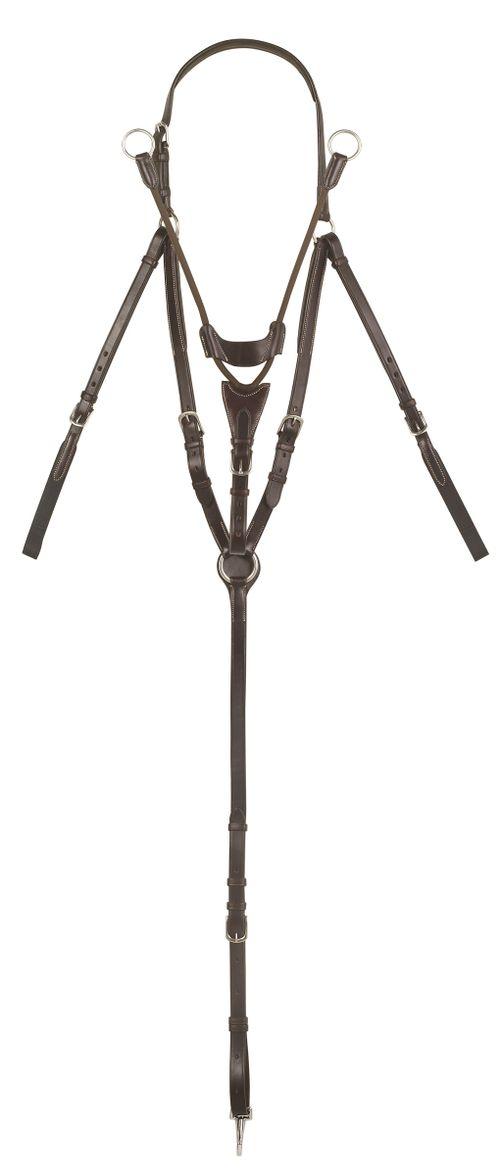Ovation Elite 3 Point Adjustabel Breastplate w/Stretch Cord Running Attachment - Dark Brown
