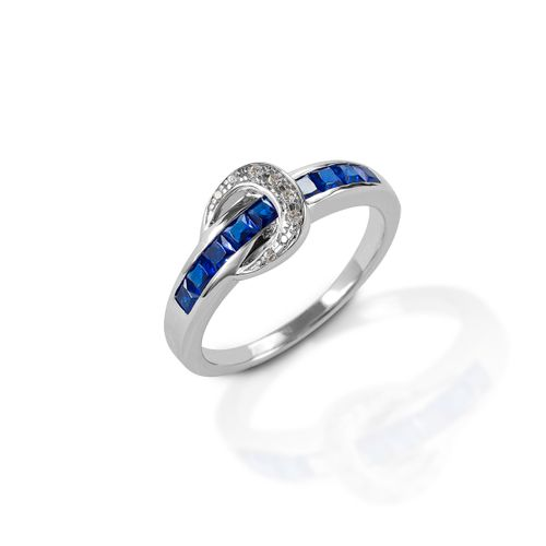 Kelly Herd Contemporary Buckle Ring - Sterling Silver/Blue