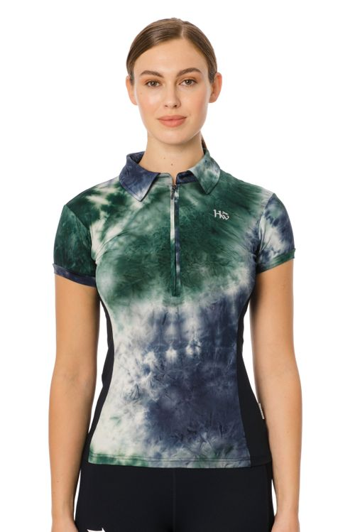 Horseware Women's Orla Technical Polo - Green/Navy Tie Dye