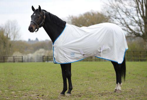 Kool Coat Lite Summer Standard Neck Sheet with Surcingles - White/Blue