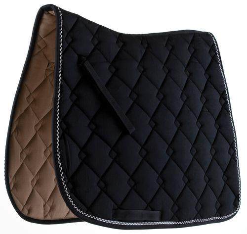 Roma Ecole Double Diamond Quilt Dressage Saddle Pad - Black/Silver