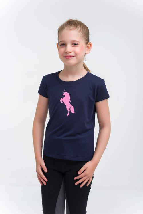 Cavalliera Kids' Just Pink Short Sleeve Riding Shirt - Navy Blue