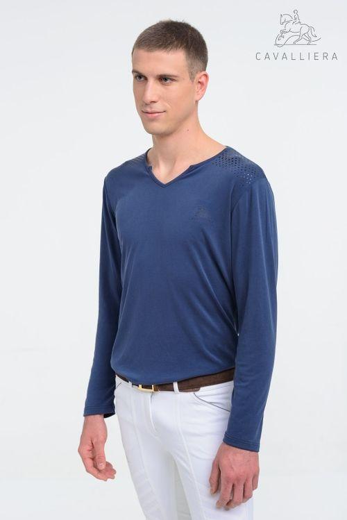 Cavalliera Men's Style Long Sleeve Tee Shirt - Pigeon Blue