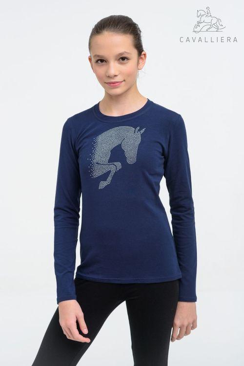 Cavalliera Kids' Jumping Star Long Sleeve Tee Shirt - Navy Blue