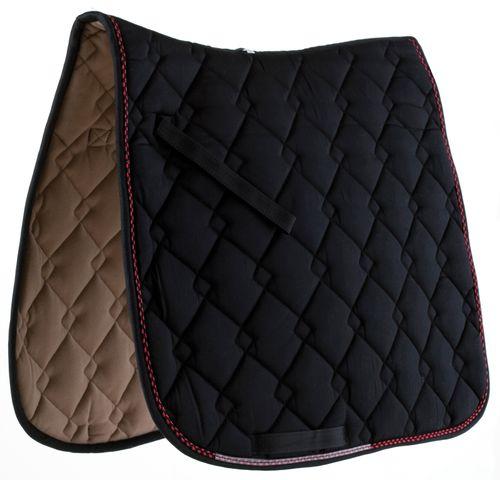 Roma Ecole Double Diamond Quilt Dressage Saddle Pad - Black/Red